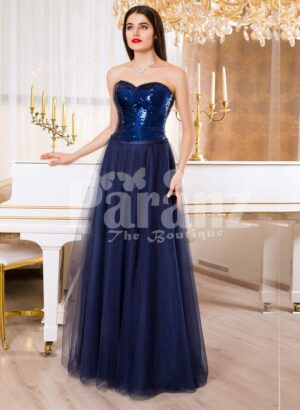 Women's off-shoulder evening gown with glitz sequin bodice and long tulle skirt