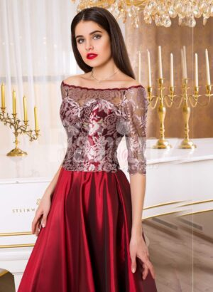 Women's off-shoulder evening gown with silver appliqués and satin maroon skirt