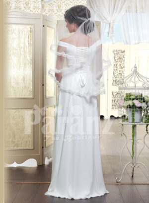Women's off-shoulder rich satin glossy white floor length wedding gown back side view