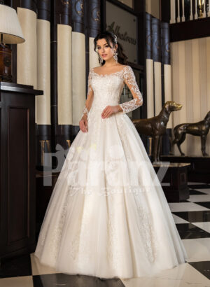 Women's off-shoulder super lacy pearl white tulle wedding gown