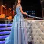 Women's off-shoulder super stylish fairy princess style flared tulle skirt evening gown back side view