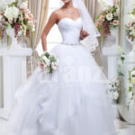 Women's off-shoulder super stylish pearl white wedding gown with high volume tulle skirt