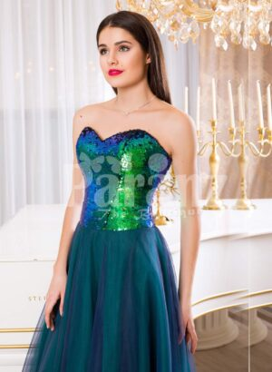 Women's peacock green off-shoulder sequin bodice evening gown with tulle skirt