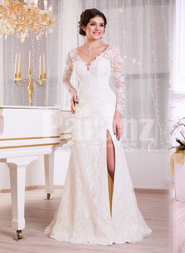 Women's pearl white rich satin side slit evening gown with full sheer-lace sleeves