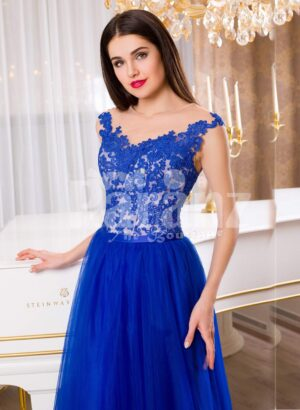 Women's pleasing royal blue sleeveless evening gown with long tulle skirt