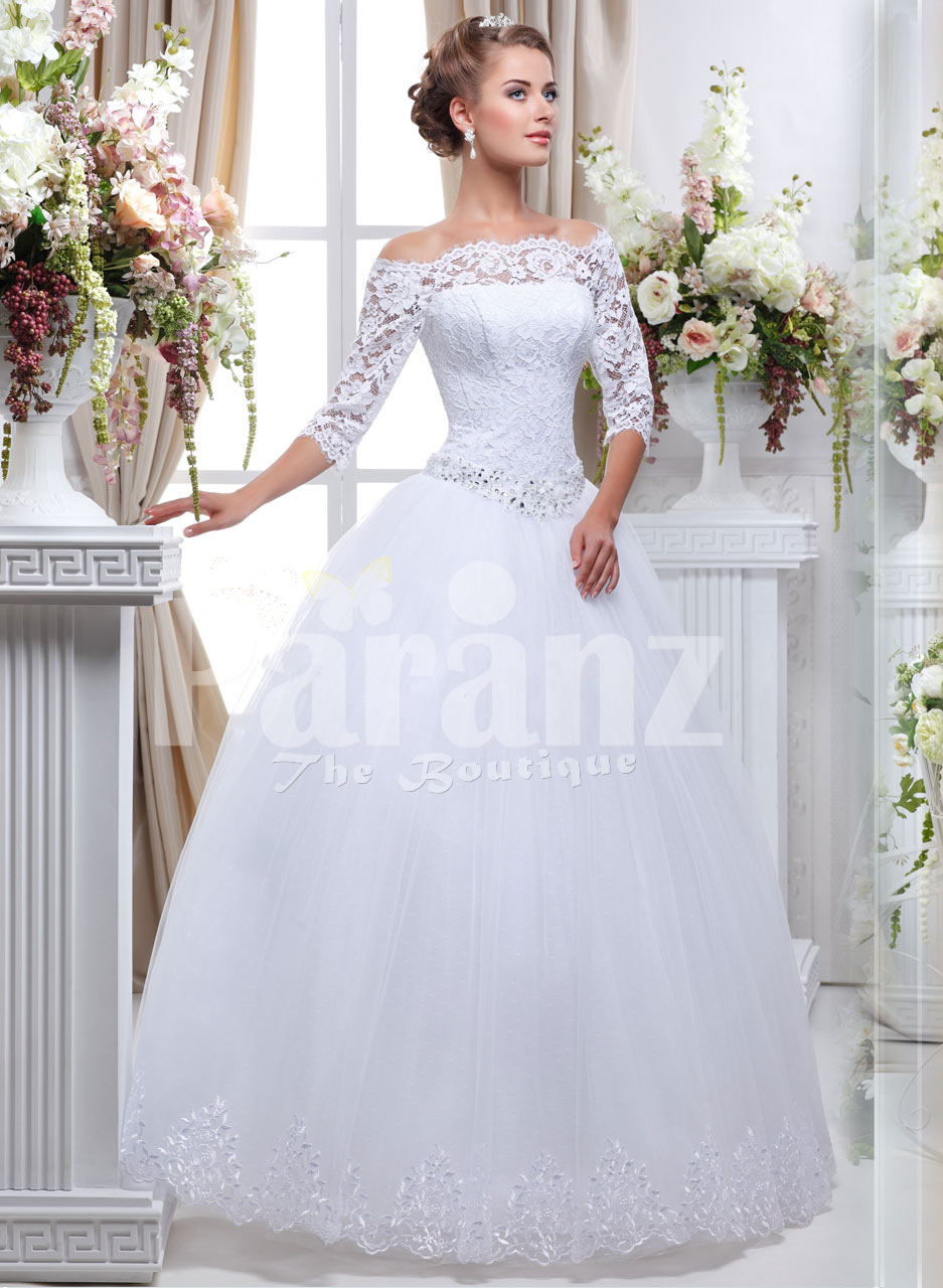 lacy full sleeve wedding gown