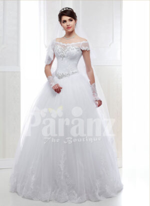 Women's pretty princess style pearl white flared tulle skirt wedding gown