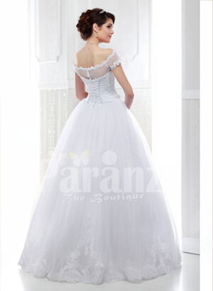 Women's pretty princess style pearl white flared tulle skirt wedding gown back side view