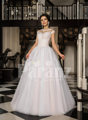 Women's princess style super gorgeous flared wedding tulle gown in pearl white