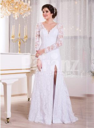 Women's pure white floor-length side slit rich satin gown with all over royal lacework