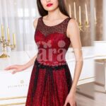 Women's red and black floor length rich satin evening gown with breathable lining