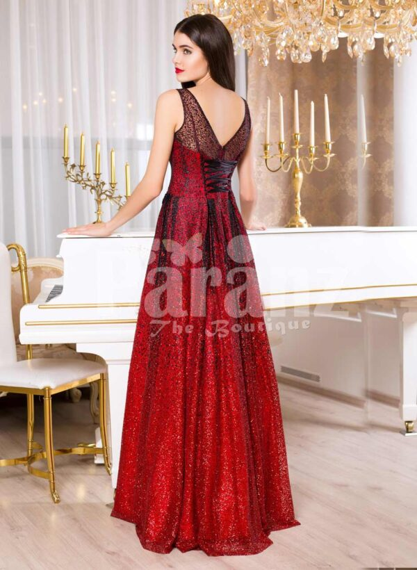 Women's red and black floor length rich satin evening gown with breathable lining back side view