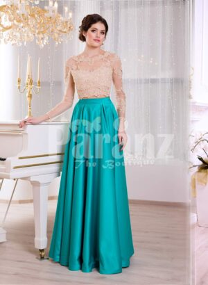 Women's rich rhinestone work royal bodice elegant gown with metallic mint satin skirt
