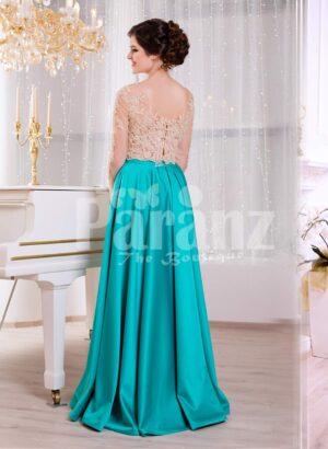 Women's rich rhinestone work royal bodice elegant gown with metallic mint satin skirt back side view