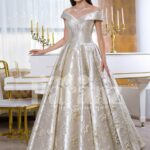 Women's rich satin flared and floor length silver satin gown with all over floral appliqués