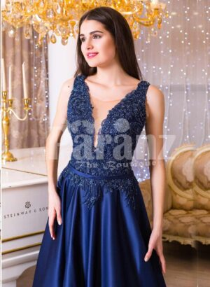 Women's rich satin long evening gown with glitz royal sleeveless bodice in navy