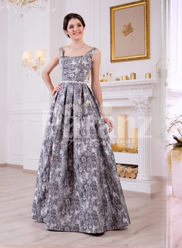 Women's rich satin self grey floral printed floor length glam evening party gown
