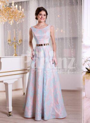 Women's rich satin self-printed floor length evening gown with golden waist belt