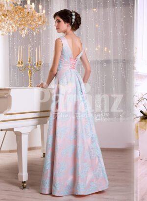 Women's rich satin self-printed floor length evening gown with golden waist belt side view