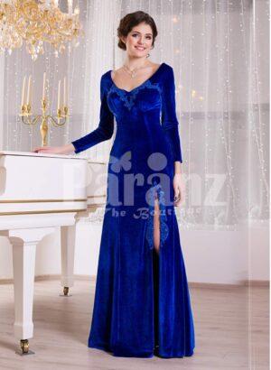 Women's rich velvet side slit full sleeve floor length gown in royal blue