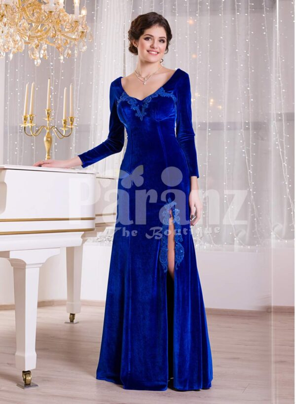 Women's rich velvet side slit full sleeve floor length gown in royal blue