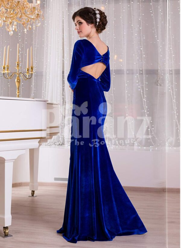 Women's rich velvet side slit full sleeve floor length gown in royal blue side view