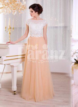 Women's rich white rhinestone work bodice elegant evening gown with peach tulle skirt