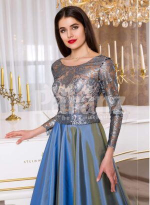Women's rosette appliquéd sheer bodice evening gown with rich and smooth satin skirt