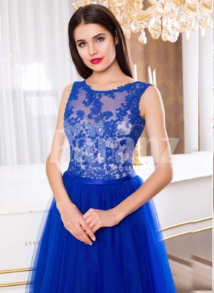 Women's royal blue elegant evening gown with long tulle skirt and lacy bodice
