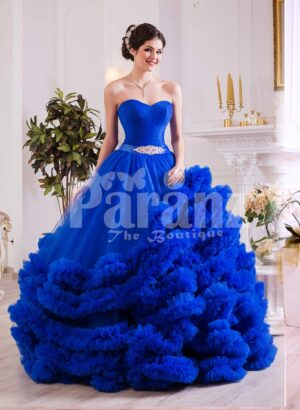 Women's royal blue evening gown with high volume tulle skirt with ruffle cloud hem