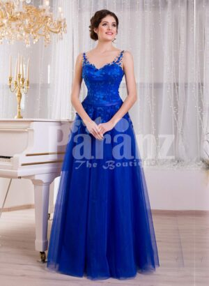 Women's royal blue sleeveless evening gown with medium volume flared tulle skirt
