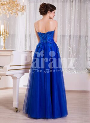 Women's royal blue sleeveless evening gown with medium volume flared tulle skirt BACK SIDE VIEW