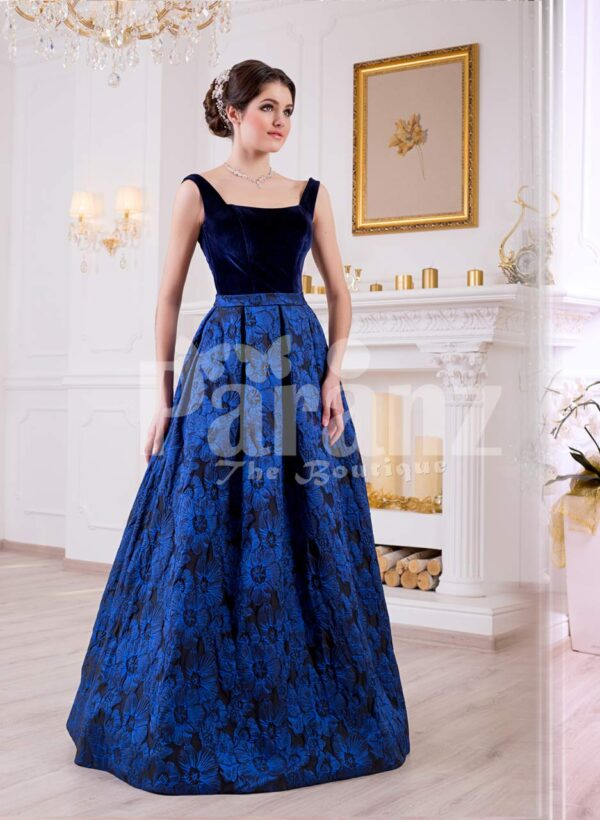 Women's royal blue velvet bodice glam evening gown with floor length floral print satin skirt