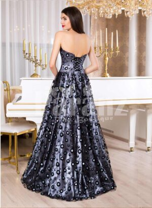 Women's satin floor length evening gown with off-shoulder bodice and all over bubble print back side view