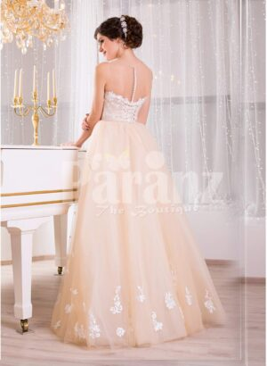 Women's satin-sheer sleeveless evening gown with flared tulle skirt and all over appliqués back side view