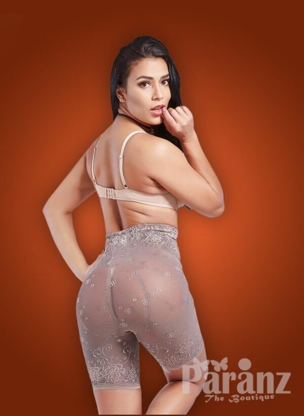 Women's self-design mid body shaper with front zipper closure back side view