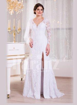 Women's side slit elegant white satin full sleeve wedding gown