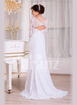 Women's side slit elegant white satin full sleeve wedding gown back side view