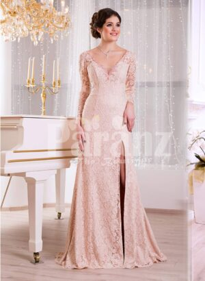 Women's side slit full sleeve rich soft and smooth peach pink glam evening gown