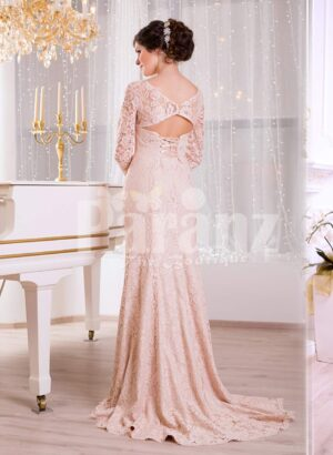 Women's side slit full sleeve rich soft and smooth peach pink glam evening gown back side view