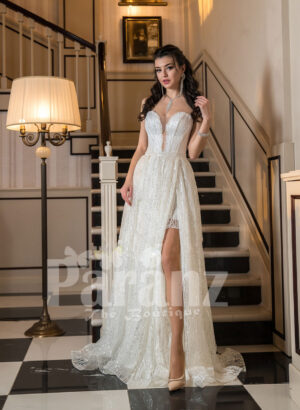 Women's side slit white glitz wedding tulle gown with royal bodice