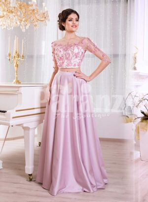 Women's silk satin long evening gown with mauve skirt and white-pink floral bodice
