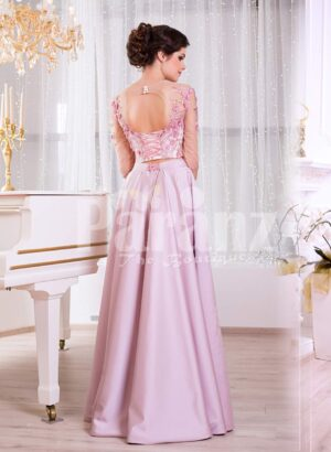 Women's silk satin long evening gown with mauve skirt and white-pink floral bodice Back side view