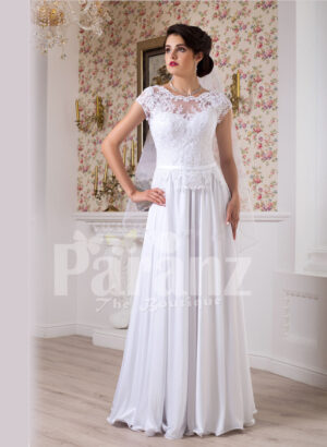 Women's simple and elegant all white floor length lacy bodice wedding gown
