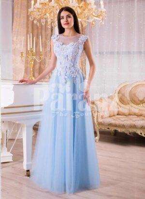 Women's sky blue floor length evening gown with tulle skirt and floral bodice