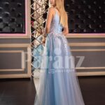 Women's sleeveless floor length tulle gown with floral appliquéd royal bodice back side view