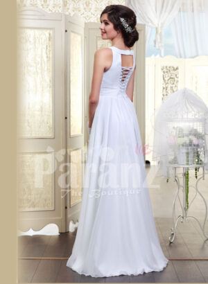 Women's sleeveless pearl white floor length satin gown with glitz waist belt back side view