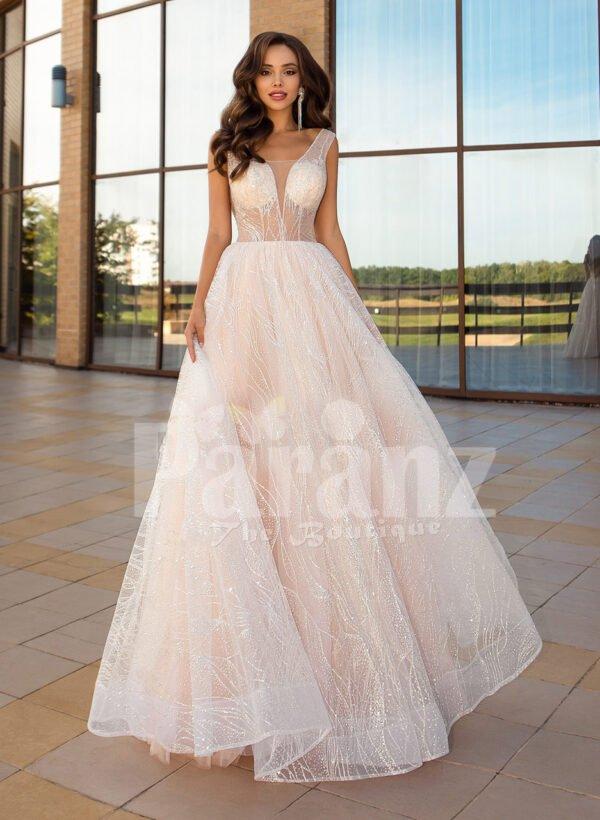 Women's sleeveless power pink glitz glam tulle wedding gown