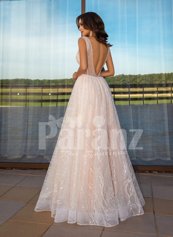 Women's sleeveless power pink glitz glam tulle wedding gown back side view