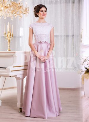 Women's small cap sleeve white lacy bodice evening gown with metallic mauve satin skirt
